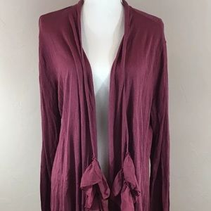 Soft Surroundings Ruffle Cardigan Purple Large